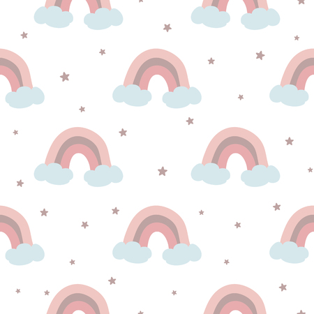Pink rainbow seamless pattern decorated clouds stars for baby girl design template. Cute baby shower pink color background. Childish style wallpaper textile fabric cloth. Vector illustration. Illustration