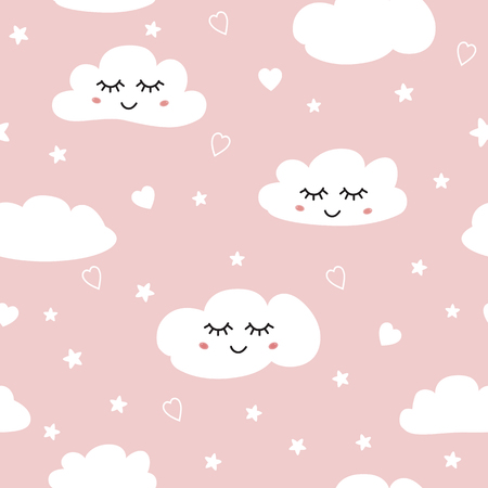 Sweet pink seamless pattern White sleeping clouds background collection Baby girl ornament template vector 일러스트