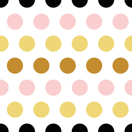 Cute seamless pattern polka dot abstract ornament made from yellow golden, pink, black hand drawn circles, round shapes Vector illustration for wallpaper, wrap textile fabric pink female texture