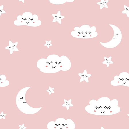 Cloud seamless pattern Sleeping clouds moon stars on light blue background Baby girl ornate Cute hand drawn sky banner with smile elements for children design Decprative paper Vector illustration. Illustration