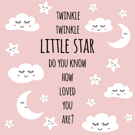 Little star greeting card for baby shower nursery poster Smiling face Text quote vector