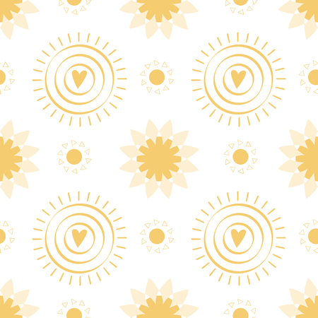 Seamless pattern with hand drawn yellow doodle suns on white background Sun icons Sunny summer yellow vector illustration for textile print web cloth design. Vector illustration.