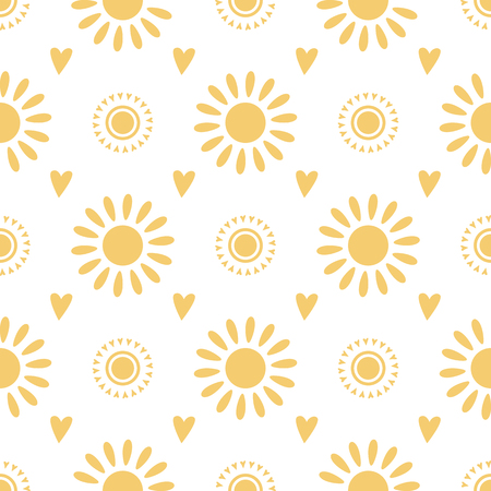 Seamless pattern cute hand drawn yellow doodle suns on white background Summer vector illustration