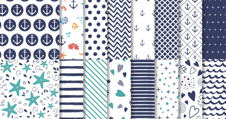Set of marine and nautical backgrounds in navy blue and white colors Vector