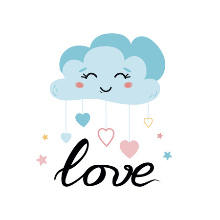 Cloud heart ute character Smiling blue cloud for kids room poster. Vector illustrations. Blue smiling cloud with dropping hearts. Blue baby shower card White background. Colorful hearts print.