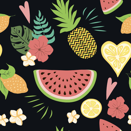 Seamless summer pattern with tropical flowers exotic fresh fruits on black. Vector illustration