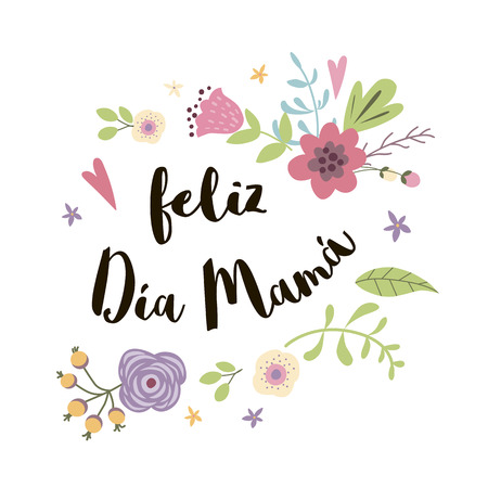Mother Day greeting card decorated hand drawn cute flowers. Pink red floral pattern background. Hand drawn lettering title in Spanish Vector illustration Banner for Morthers day. Ilustração Vetorial