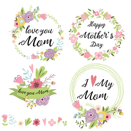 Set of cute greeting design elements for Mothers Day floral wreath flowers hearts banners ribbon lettering. Vector illustration.