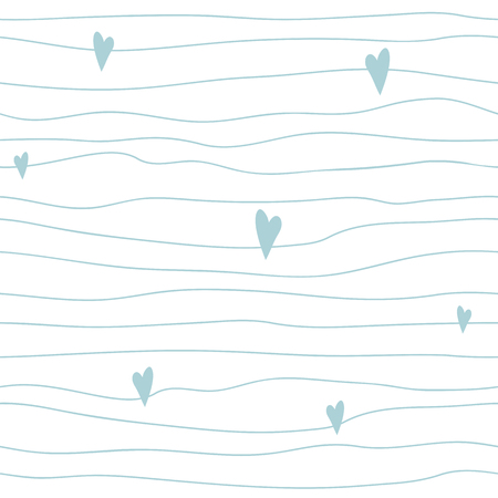 Baby Boy blau nahtlose Muster skandinavischen kindischen Stil Niedliche unregelmäßige Streifen mit Herzen Handgezeichnete einfache Textur Light bue Hintergrund Babyparty Wiederholen Sie abstrakte Vorlage Vektor-Illustration. Vektorgrafik