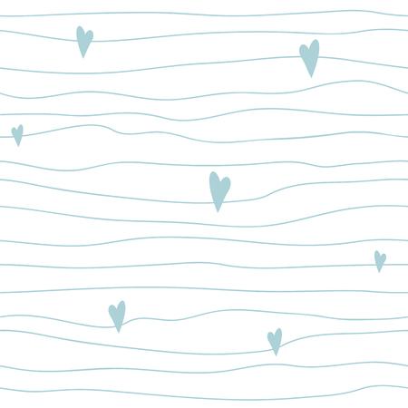 Modèle sans couture bleu bébé garçon Style enfantin scandinave Bandes irrégulières mignonnes avec des coeurs Texture simple dessinés à la main Fond clair bue douche de bébé Répétez le modèle abstrait Illustration vectorielle. Vecteurs