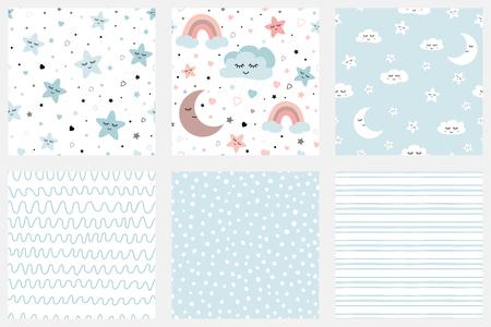 Estrellas sonrientes nubes luna niños repiten fondo Conjunto de patrones de fondo en azul pálido Diseño de rayas Baby Shower, cumpleaños scrapbook tarjetas de felicitación envoltura de regalo texturas superficiales Ilustración vectorial.
