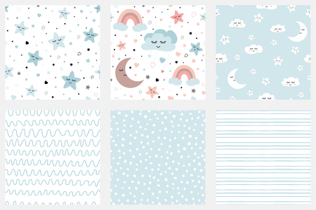 Stars smiling clouds moon kids repeate background Set of background patterns in pale blue Striped design Baby Shower, Birthday scrapbook greeting cards gift wrap surface textures Vector illustratiion.