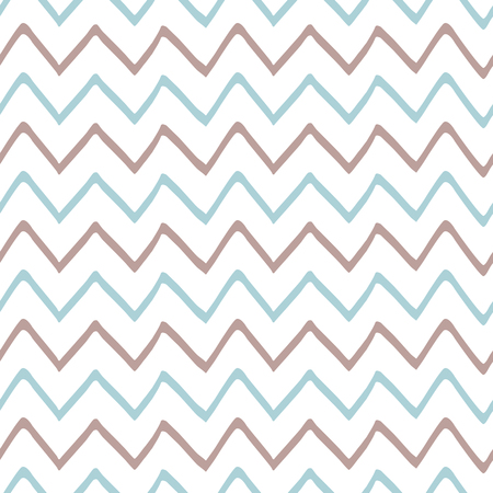 Baby boy blue seamless pattern with zig zag stripes Childish style Cute irregular design Hand drawn simple texture for background fabric cloth baby shower Repeat abstract template Vector illustration. Illusztráció
