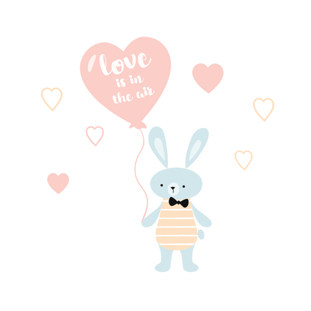 Baby shower card Love is in the air bunny with a heart balloon. Cute rabbit character. Nursery wall art illustration. 일러스트