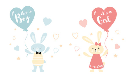 Its a boy its a girl Vector greeting card. Baby shower card. Baby announcement card design element rabbit ballon Ilustração