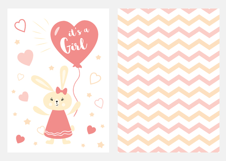Its a girl Set of pink white yellow templates for invitations Rabbit balloon Zigzag background vector