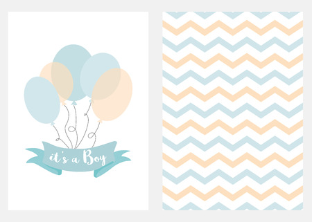 Baby shower invitation for boys Blue balloons ribbon text Set 2 cards Vector Illustration