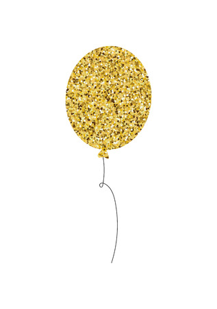Golden glittering balloon with glitter texture isolated on white background Vector element Çizim