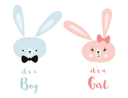 Its a boy its a girl Vector greeting card. Baby shower card. Baby card design element Rabbit head Stock Vector - 125293956