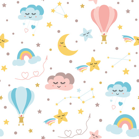 Seamless baby pattern sky elements moon cloud rainbow hot balloon stars Kids texture Vector 일러스트