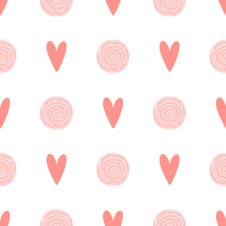 Pink dot pattern heart love seamless background Baby girl simple birthday template Vector fabric design Çizim