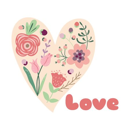 Flower Heart Floral love concept for Valentines Day Floral heart Vector hand drawn element Reklamní fotografie - 127498450