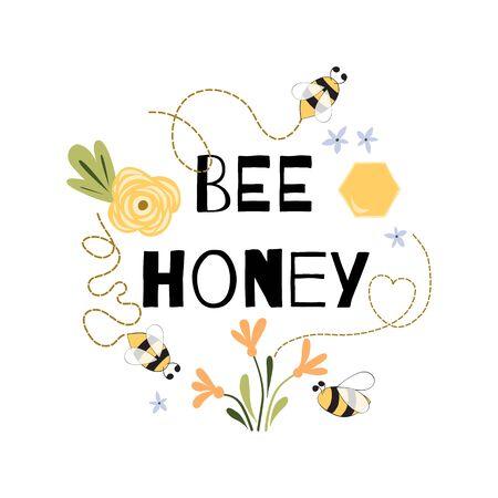 Citation de miel d'abeille Phrase drôle Abeille fleurs miel Mignon imprimé jaune blanc vecteur Vecteurs