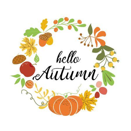 Hello Autumn wreath Fall elements Orange pumpkin maple leaves apple acorn harvest nature design Fall season