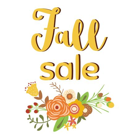 Autumn sale poster of discount promo web banner for fall seasonal shopping with hand drawn flowers Big autumn sale offer, banner template. Shop market poster design Floral branch Vector illustration.