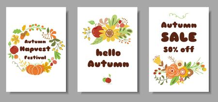 Autumn set cards Autumn sale harvest market design template Cute hand drawn flowers leaves floral wreath vector Reklamní fotografie - 127498457