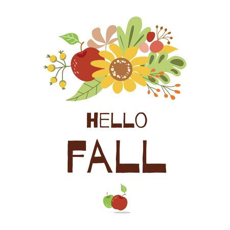 Hello Fall autumn greeting card floral autumn decor sunflower apple Cute hand written banner vector Ilustrace