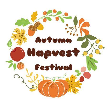 Autumn Harvest Festival poster design Fall wreath on white background Vector illustration.