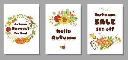 Autumn set cards Autumn sale harvest market design template Cute hand drawn flowers leaves floral wreath vector