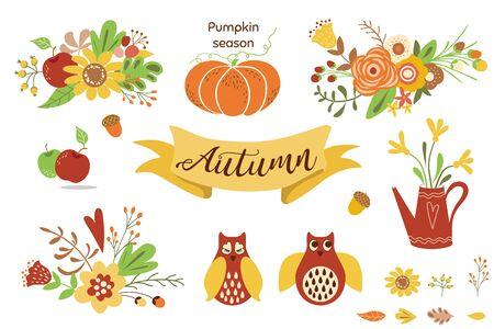 Autumn floral set. Colorful floral elements for fall floral clipart Flowers owl pumpkin apple floral bouquet vector Illustration