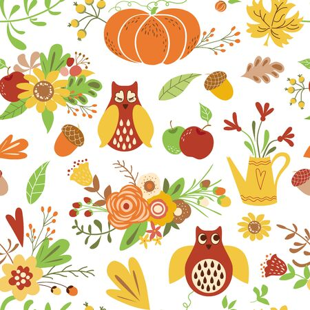 Autumn seamless pattern Cute doodles card Hand draw flowers leaves owl pumpkin Cute fall background vector Illustration