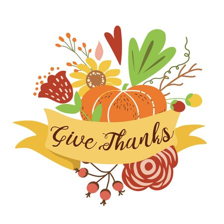 Give thanks Autumn bouquet composition Hand drawn Happy thanksgiving banner Fall harvest colorful vector print Reklamní fotografie - 127499005