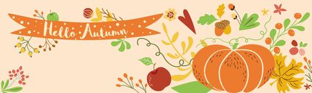 Autumn border horizontal decorated pumpkin fall flowers leaves Autumn banner Ribbon Hello Autumn vector