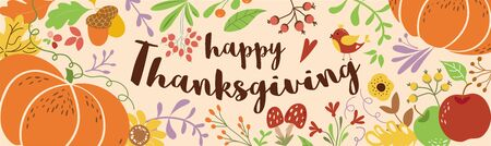 Happy Thanksgiving text decorated cute beautiful pumpkin autumn leaves foliage flowers autumn floral elements Vector horizontal banner