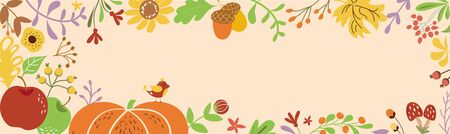 Autumn border horizontal decorated pumpkin fall flowers leaves Autumn banner Ribbon Place for text vector