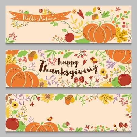 Autumn banners set horizontal. Three templates in cartoon style Hand drawn pumpkin forest fall flowers bird Cute vector