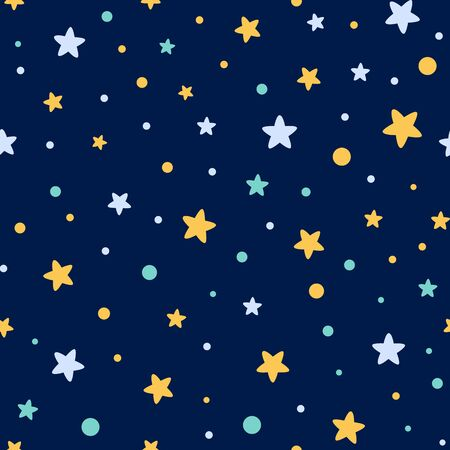 Starry seamless pattern decorated yellow blue stars shape Dark night backgound wallpaper textile vector Ilustração
