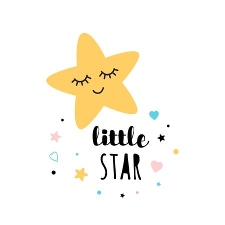 Little star text star shape print design isolated on white vector poster invitation banner baby shiower Stock Illustratie