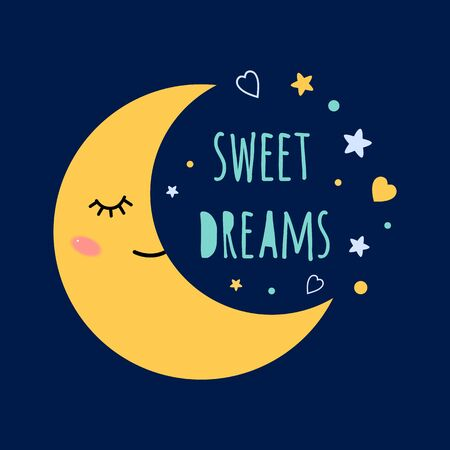 Sweet dreams text on darkness background Sleep moon with eyes on the sky around the stars