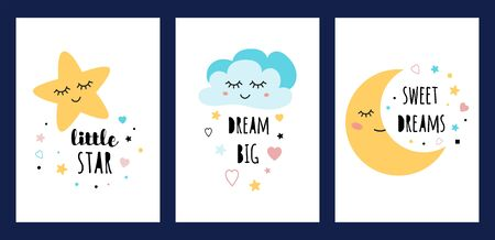 Star cloud moon sleep card set Colorfull sleeping character collection isolated on white Funny posters text Dream big Sweet deams Little star Kids flyers Print for textile cloth Vector illustration.