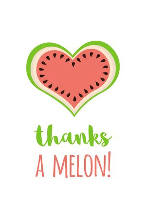 Thanks a melon card heart shape of watermelon Cartoon design for greeting banner template illustration