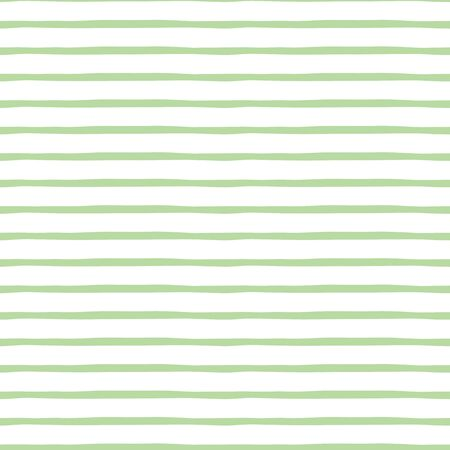 Seamless pattern with pastel green hand drawn stripes. Vector abstract background in the vintage nature style. Cool geometric striped structure on the white backdrop. Horizontal lines.