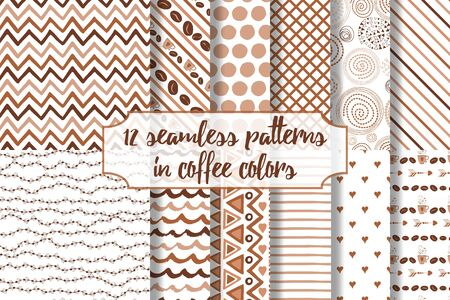 Set of coffee seamless pattern. Scrapbook elements.