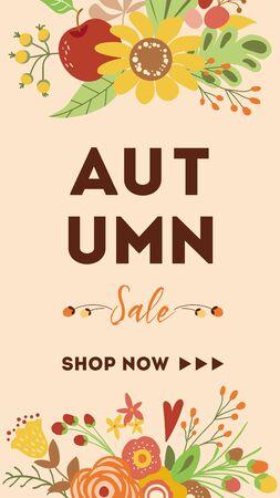 Autumn banner Sale Shop now Hand drawn floral frame Cute template Illustration