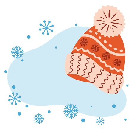 Winter template Christmas banner New Year greeting card invitation Knitted cap Snowy blue bubble