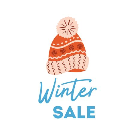 Winter sale poster Knitted red hat Christmas advertising design. New Year promotion element 写真素材 - 130020024